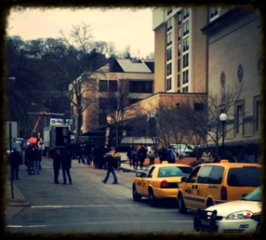 Watching the filming, but no Aaron Paul in site?